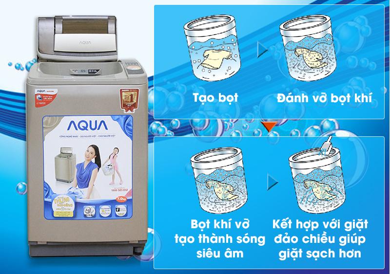 máy giặt aqua aqw-u800z1t giặt bằng sóng siêu âm