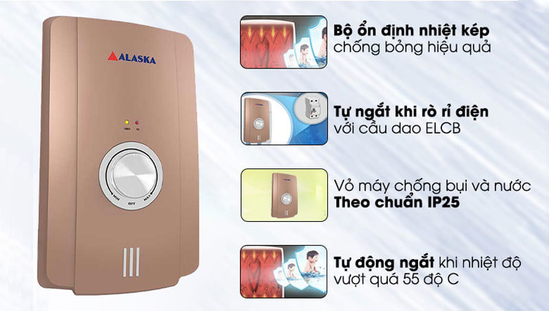 Máy tắm nước nóng Alaska H-45G thiết kế hiện đại
