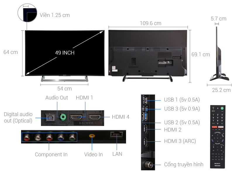 Android Tivi 4K Ultra HD Sony KD-49X8000E