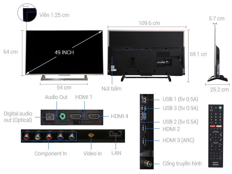 Android Tivi 4K Ultra HD Sony KD-49X8000E/S