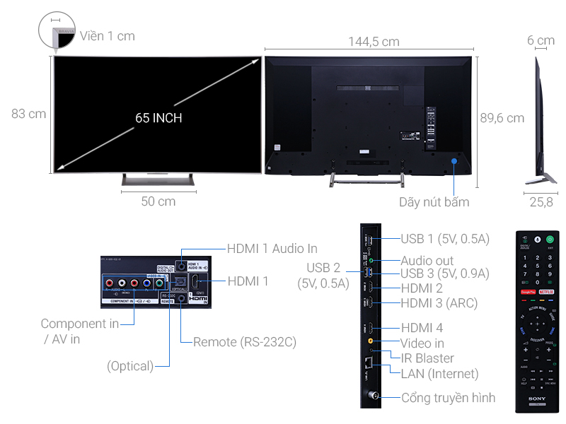 Android Tivi 65 inch Sony KD-65X9000E/S