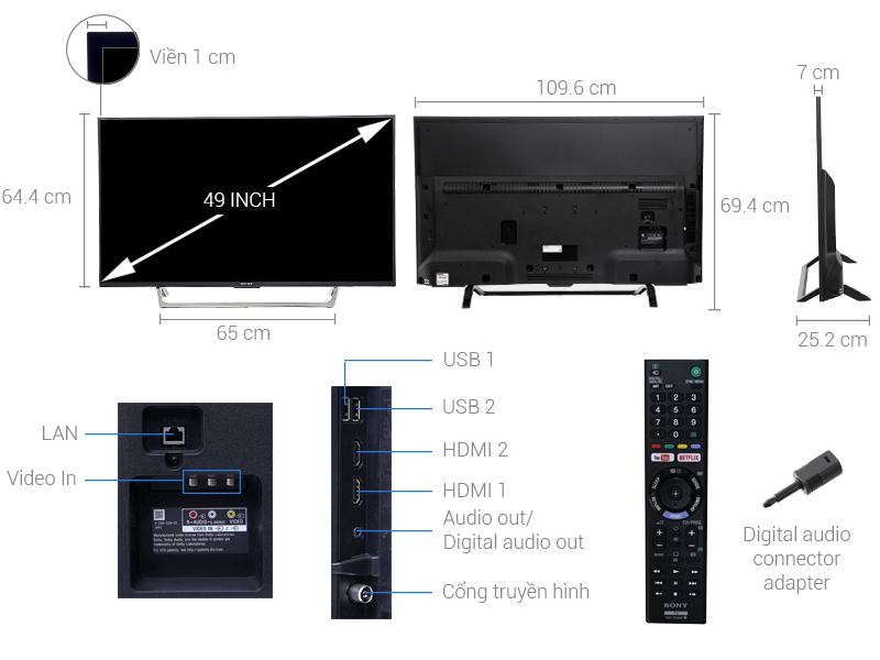 Internet Tivi 49 inch Sony KDL-49W750E