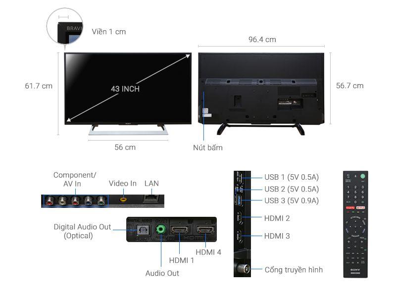 Android Tivi 4K Ultra HD Sony KD-43X8000E