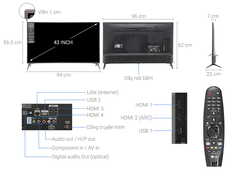 Smart Tivi LG 43UJ750T 4K 43 inch