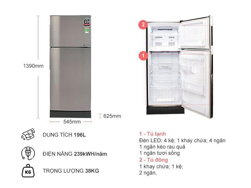 Tủ lạnh Sharp SJ-X201E-SL thiết kế quen thuộc với người tiêu dùng