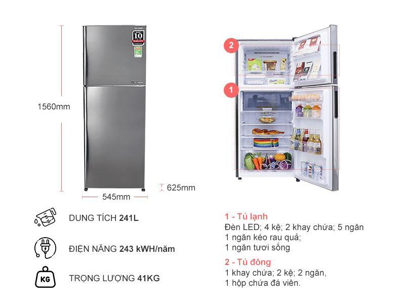 Tủ lạnh Sharp SJ-X251E-SL kiểu dáng cho không gian nhỏ hẹp
