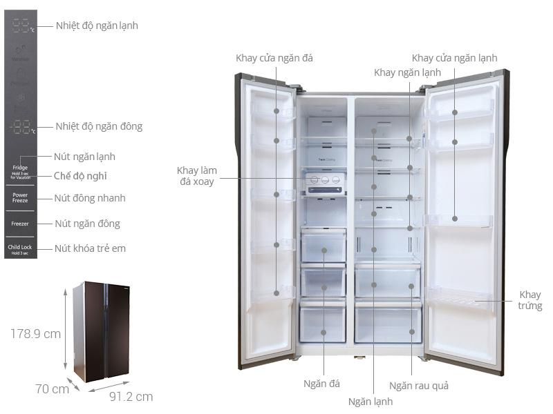 Tủ lạnh Samsung RS552NRUA9M/SV thiết kế sang trọng, bắt mắt